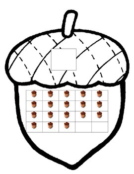 Acorn Fall Thanksgiving Math 10 ten frame 0-20 counting ESL center write number