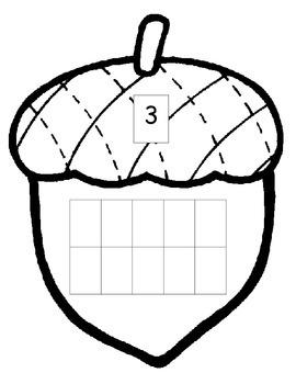 Acorn Fall Thanksgiving Math 10 ten frame 0-20 ESL center one to one corresp