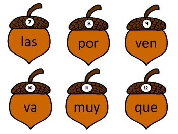 Acorn Fall Themed Spanish High Frequency Word Write the Room
