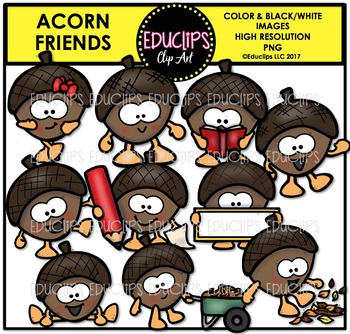 Acorn Friends Clip Art Bundle {Educlips Clipart}
