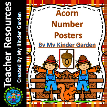 Fall Acorn Full Page Number Math Posters 0-100