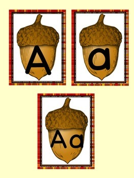 Fall Acorn Letter Flashcard and Poster Alphabet Bundle