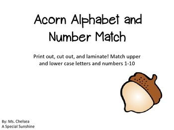Acorn Letter and Number Matching