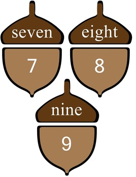Acorn Match Up Game Match Number Words to Numerals