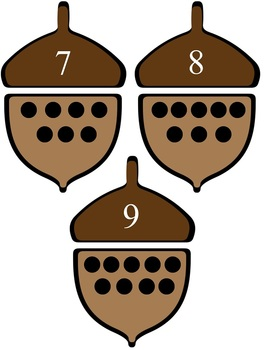 Acorn Match Up Game - Match Numerals w/ Correct Number  of Dots