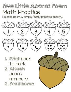Five Little Acorns Math Poem and Number Practice