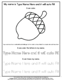 Acorn - Name Tracing & Coloring Editable Sheet - #60CentFi