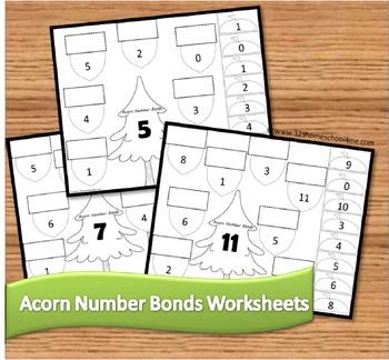 Acorn Number Bonds Math Worksheets