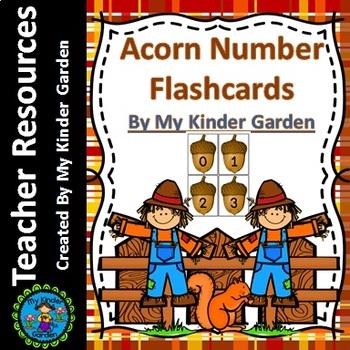 Fall Acorn Number Math Flashcards 0-100