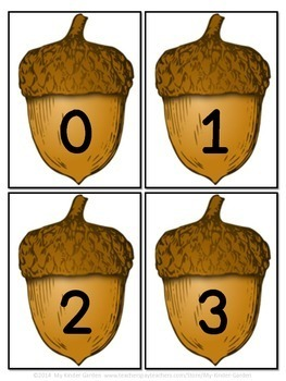 Fall Acorn Number Math Flashcards 0-100
