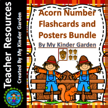 Fall Acorn Math Number Flashcards and Posters Bundle 0-100