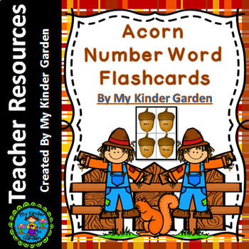 Fall Acorn Math Number Word Flashcards 0-100