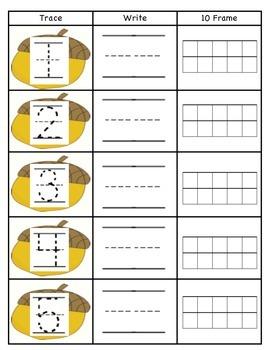 Acorn Numbers 1-5 Writing