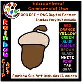 Acorn / Nut / Seed - Rainbow Clipart - 12 Colors - Commerc