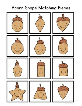 Acorn Shape Match File Folder Game for Special Education