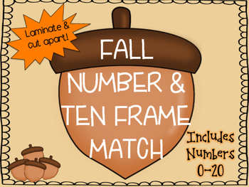 Ten Frames Match 0-20 Fall Themed
