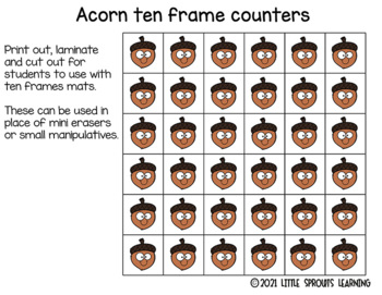 Acorn Ten Frames (includes worksheet)