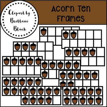 Acorn Ten Frames~ Clipart