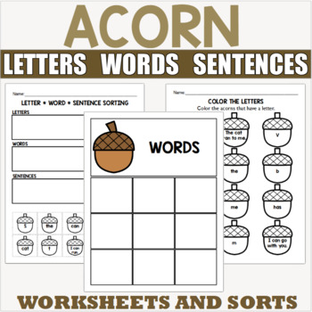 Acorn Themed Letter Word and Sentence Sort