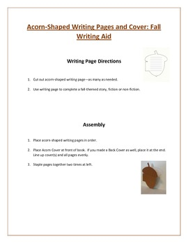 Shaped Writing Page and Cover (Acorn): Fall Writing Aid