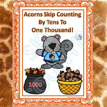 """Acorns """"Skip Counting Flash Cards"""" (By 10)"""