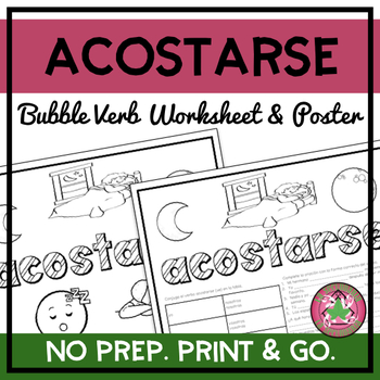Acostarse Bubble Verb Worksheet and Poster