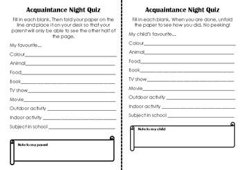 Acquaintance Night Quiz