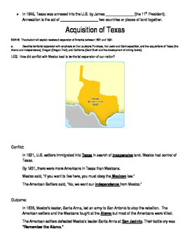 Acquisition of Texas Graphic Organizer