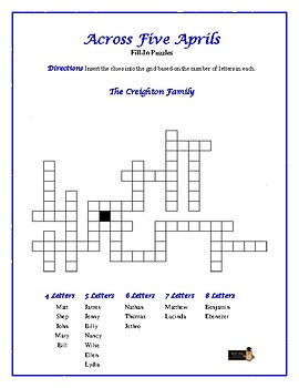 Across Five Aprils: 4 Fill-In Word Puzzles—Fun Downtime ...