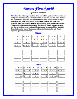 Across Five Aprils: 4 Quotation Dominoes—Each focuses on a main character!