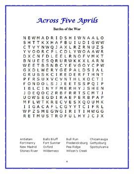 Across Five Aprils: 5 Novel-Based Word Searches—Fun!