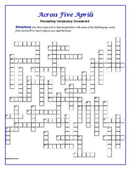 Across Five Aprils: 50-word Prereading Crossword—Use with Bookmarks Plus!