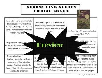 Across Five Aprils Choice Board Novel Study Activities Menu Book Project Rubric