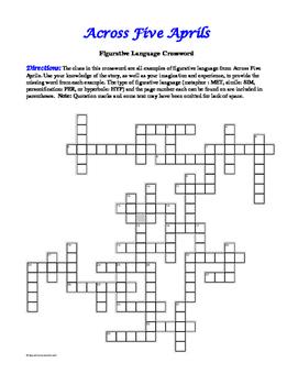 Across Five Aprils: Figurative Language Crossword—Fun!