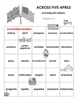 Across Five Aprils Vocabulary Bingo