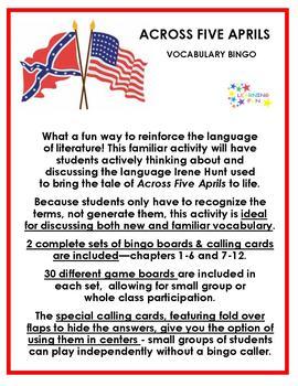 Across Five Aprils Vocabulary Bingo