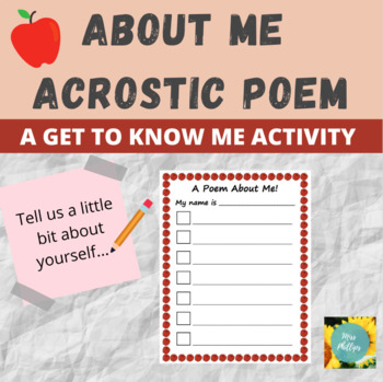 Acrostic Name Poem: Get to Know Me Activity