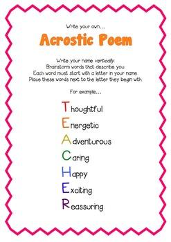 Acrostic Poem by Teacher Hayley | Teachers Pay Teachers