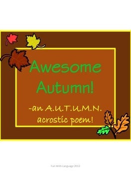 Acrostic Poem Activity for Fall or Autumn Fun and Creative Writing!