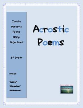 Acrostic Poem Adjective Activity