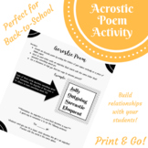 Acrostic Poem: Back-to-School Classroom Culture Building Activity