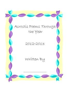Acrostic Poem Cover Sheet
