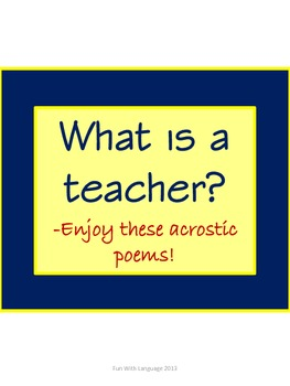 Acrostic Poem Examples for ... by Fun with Language | Teachers Pay ...