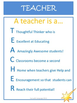 Acrostic Poem Examples For Teacher As A Free Thank You To Followers