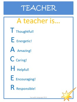 Acrostic Poem Examples for T.E.A.C.H.E.R as a Free Thank You to Followers