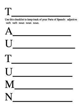 Acrostic Poem Handouts - Autumn Theme
