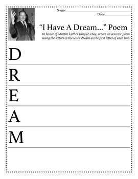 Acrostic Poem Martin Luther King Jr By Teaching With Ms Zz Tpt