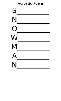 Acrostic Poem - Snowman