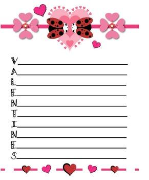 Acrostic Poem Stationery (Word: Valentines)