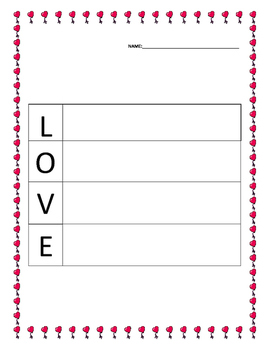 Acrostic Poem Template Valentine's Day
